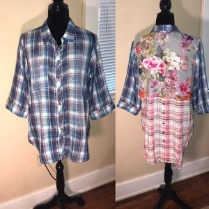 SOFT SURROUNDINGS plaid button high low top!!